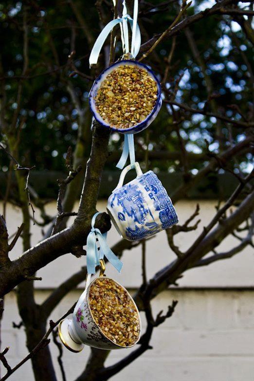 Bird feeder from tea cups