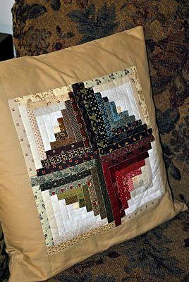 Log cabin pillow. Love the gradated darks.