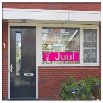 Geboortesticker rechthoek meisjes met naam | saynomorewebshop.nl