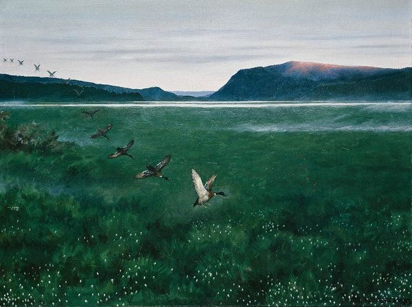 19th Century Art Art Print featuring the painting The Twelve Wild Ducks by Theodor Kittelsen