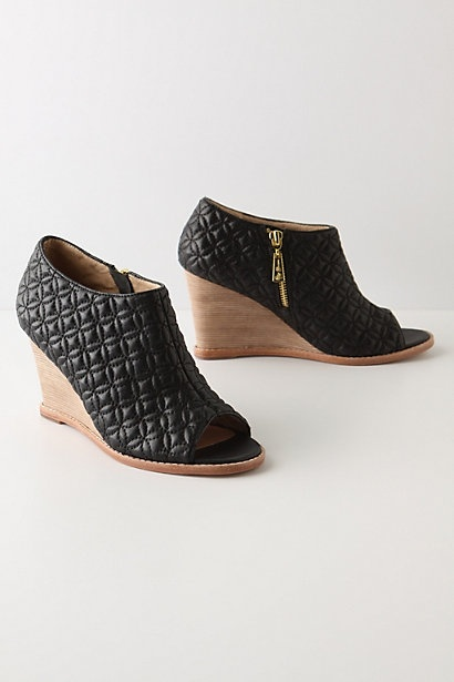 Anthropologie • Quilted Peep-Toes in Black (s10) $248