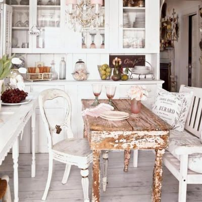 Delicate Dining  - Beach Bungalow - Coastal Living: Decor, Kitchens, Ideas, Interior, Dining Room, Shabby Chic, House, Shabbychic, Chic Kitchen