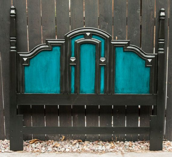 Peacock Blue and Black Queen Headboard. $185.00, via Etsy. (This is just a painted old headboard!)