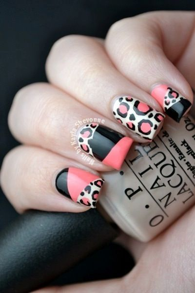 Leopard Print Color Blocking Nails : Nails by Kayla Shevonne