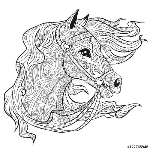 Geometric Horse Head Coloring Page