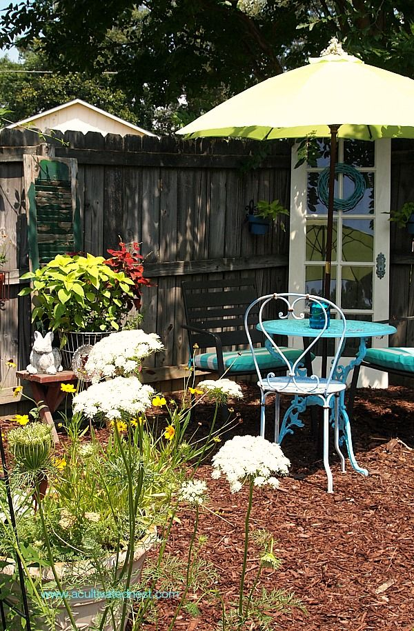 new seating area in the veggie garden