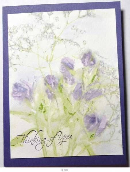 """By bensarmom at Splitcoaststampers. Uses the Pounded Flowers Technique. (See my board """"Cardmaking Techniques."""") She used bright pink dianthus & baby's breath with an amethyst wash over the piece."""
