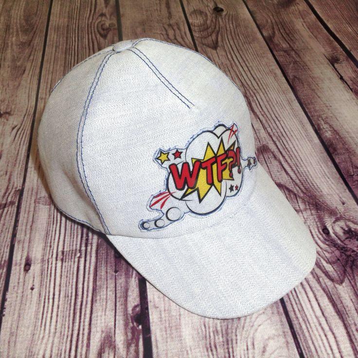 Купить Дизайнерская джинсовая бейсболка в стиле поп-арт - бейсболка, молодежная одежда, кепка