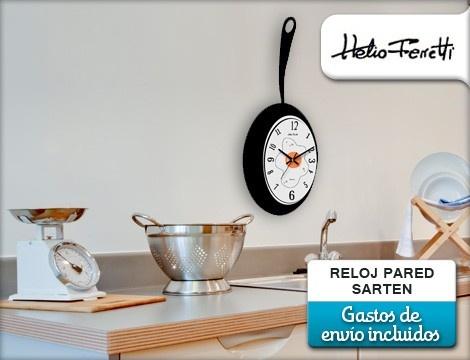 Reloj de pared con forma de sartén por 19€