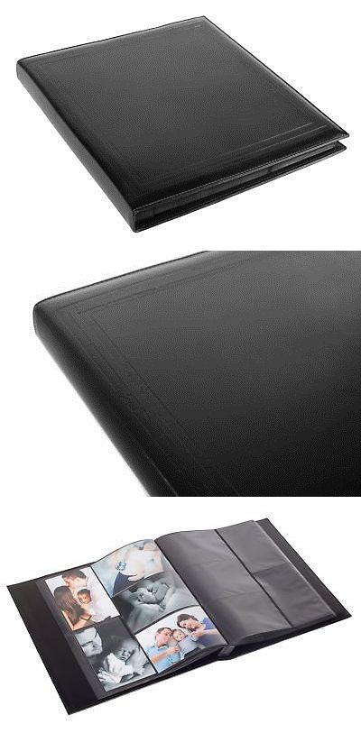 Black Faux Leather Family Photo Album With Embossed Borders Holds