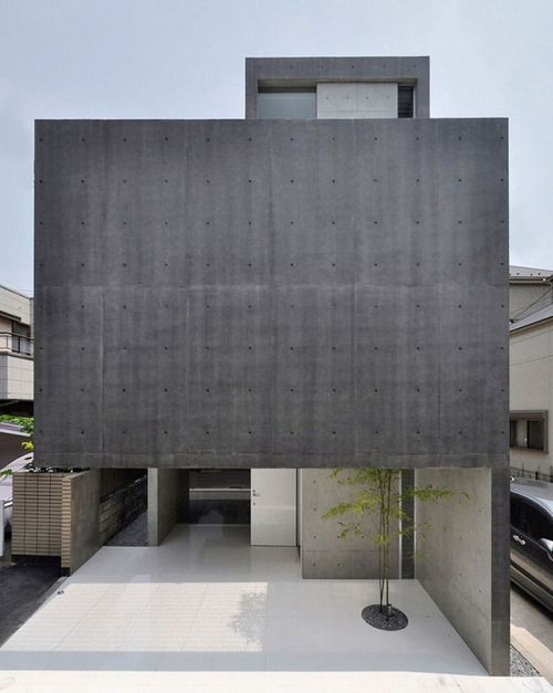 Loving the mix of raw concrete and polished white surfaces in House in Kaijin by Japanese studio, Fuse-Atelier.