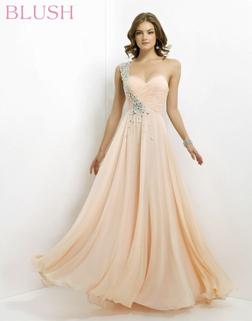 Beautiful Light Pink Flowy Prom Dress With Beading