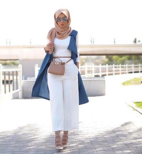 vest with white outfit- How to wear long cardigan with hijab http://www.justtrendygirls.com/how-to-wear-long-cardigan-with-hijab/