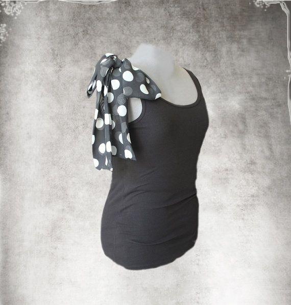 Black shoulder bow tank/Polka dot top/Adjustable shoulder