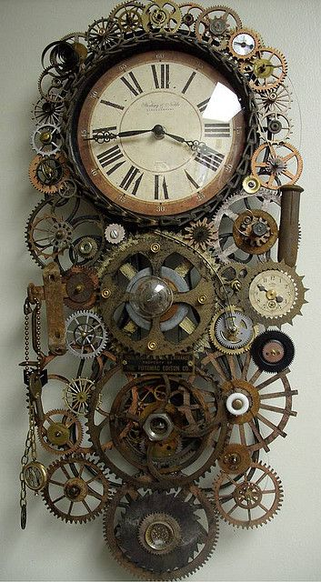 Steampunk Genuine pendulum Clock Fiona- Clocks and the inner workings of clocks could be an interesting bounce off point?
