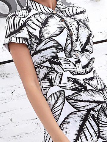 Short Sleeves Print Turn-Down Collar Chiffon Dress & Dresses - at Jollychic