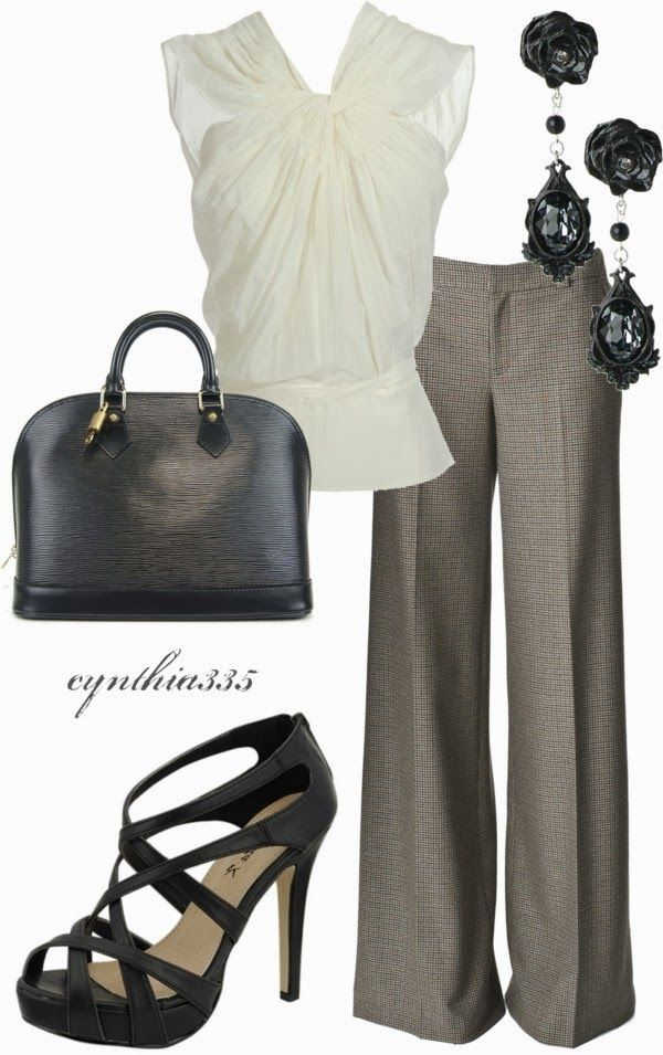 Work Outfits | Charcoal Antonio Berardi blouse, Wide Leg pants, strappy shoes, …