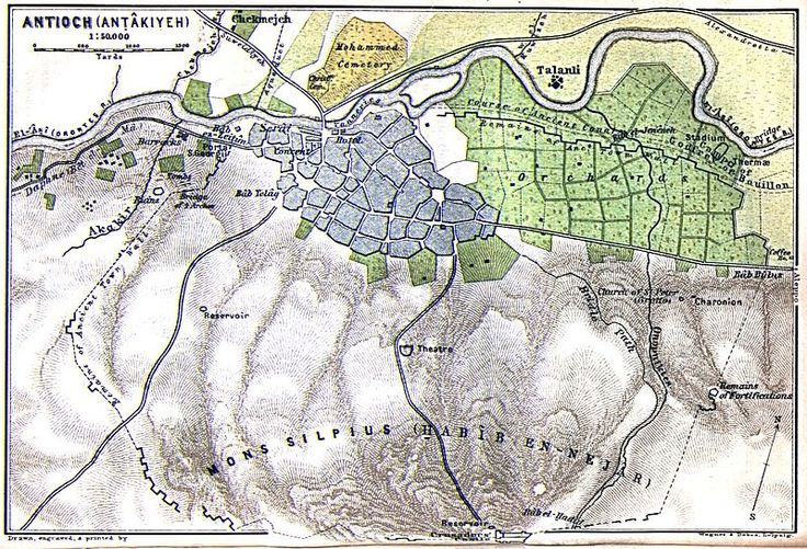 Densely-built Antakya in 1912: the traditional Muslim city shows no trace of its Hellenistic planning. To the east, orchards (green) fill the plain.