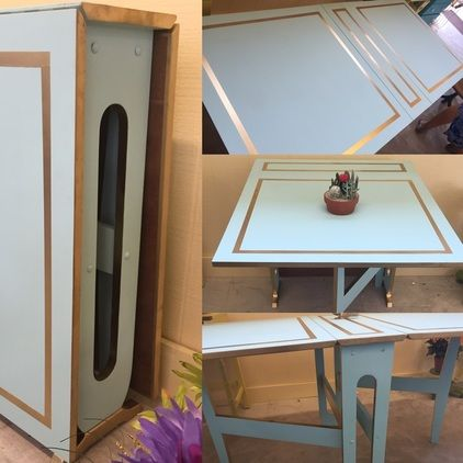 Folding table. Excellent space saver for small apartments! Aqua & gold.