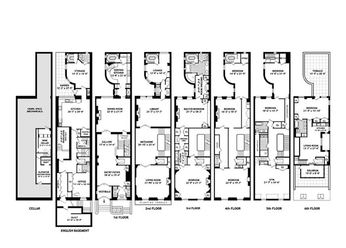 112 best townhouse floor plans images on pinterest for Upper east side townhouse for rent