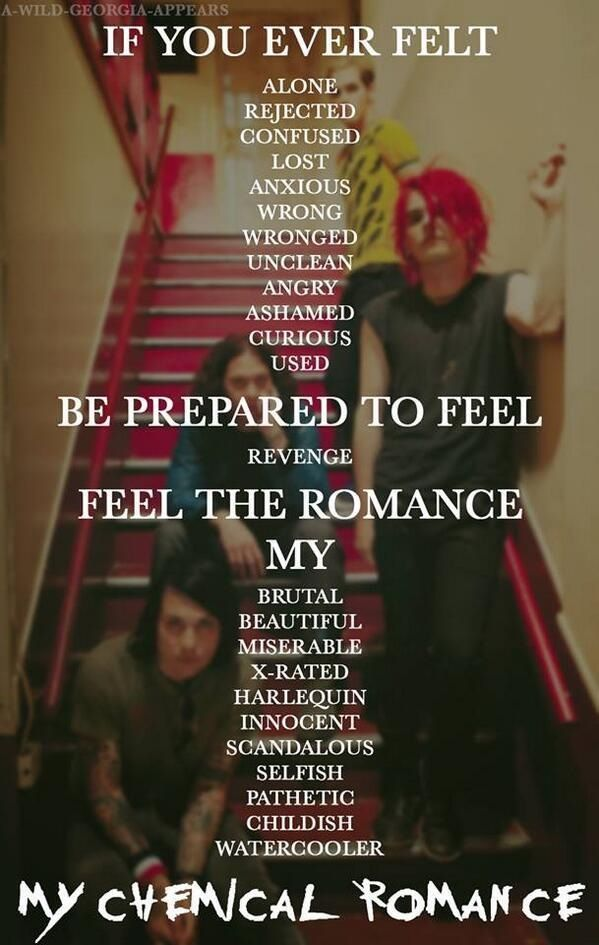 MCR, I'm (not) Okay video words done over a Danger Days era photo of the band