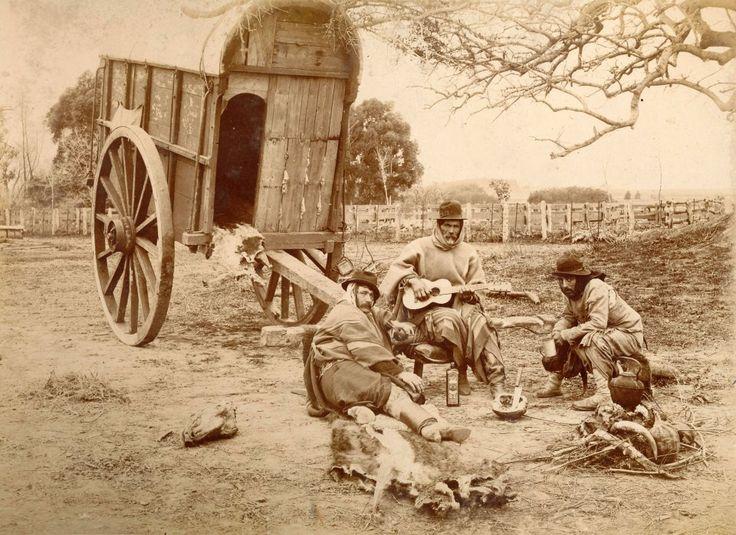 1890's Trabajadores rurales junto a la carreta, en un descanso, fines del siglo XIX