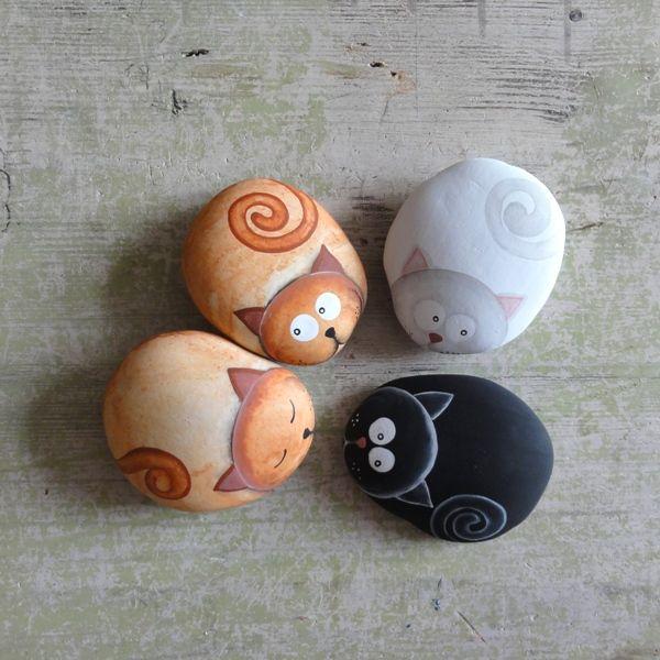 piedras pintadas: gatos