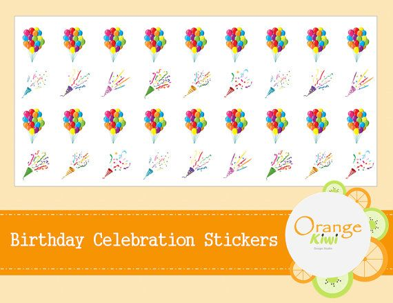 Birthday Celebration Stickers  Birthday by OrangeKiwiDesign