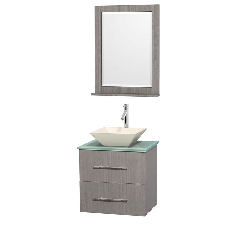 Image Gallery Website Wyndham Collection Centra inch Single Bathroom Vanity in Grey Oak w Mirror Bone Porcelain or White Porcelain Grey Oak GN Glass Top Pyra White