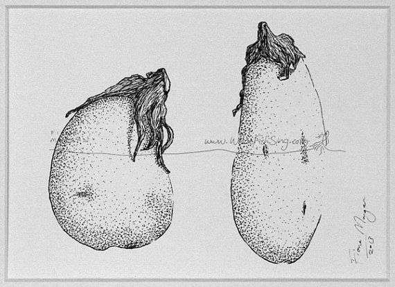 EGGPLANT / AUBERGINE Food Art ORIGINAL Matted Vegetables Botanical Drawing Kitchen Decor Black & White pen ink zen mindfulness by WhereFishSing, $32.00
