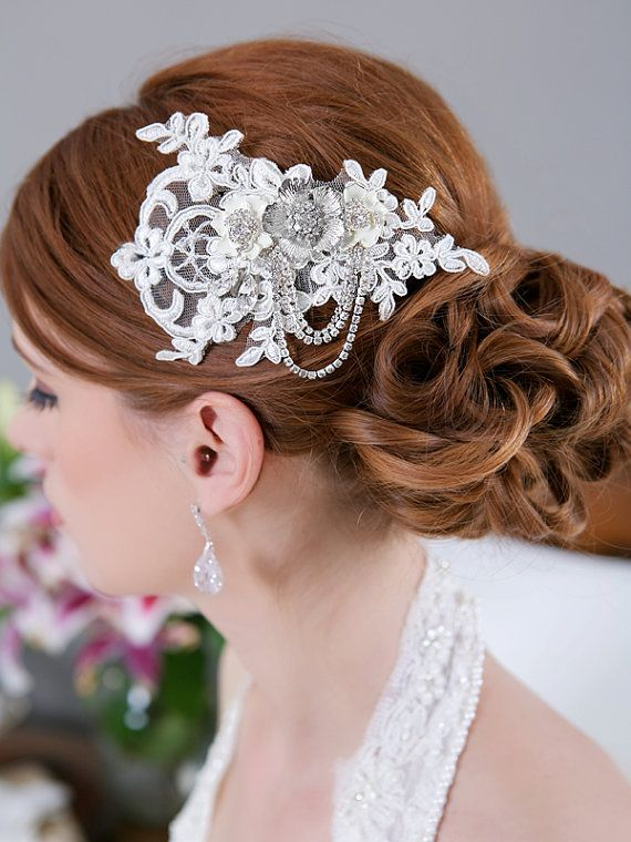 Crystal Lace Headpiece Wedding Head piece Ivory Lace Rhinestone Flower Crystal Chain Bridal Hair Accessory Lace Bridal Comb, STYLE 170