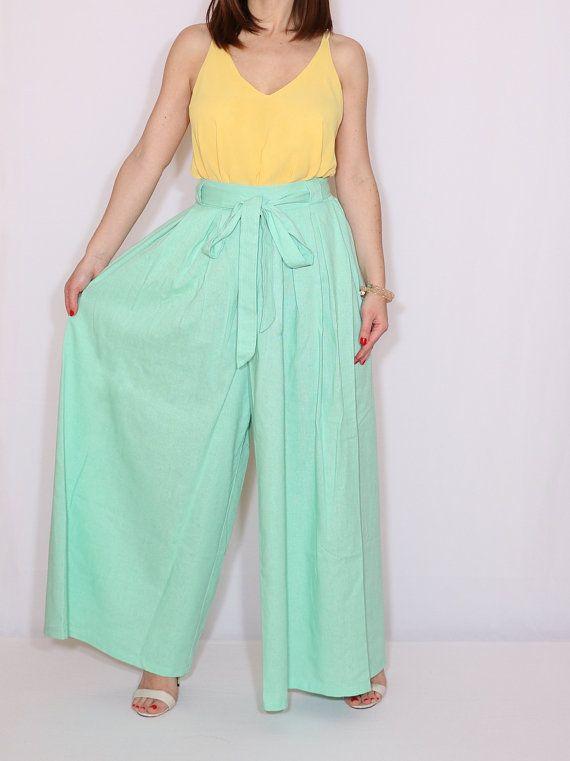 Linen pants Mint green palazzo pants Fashion skirt pant