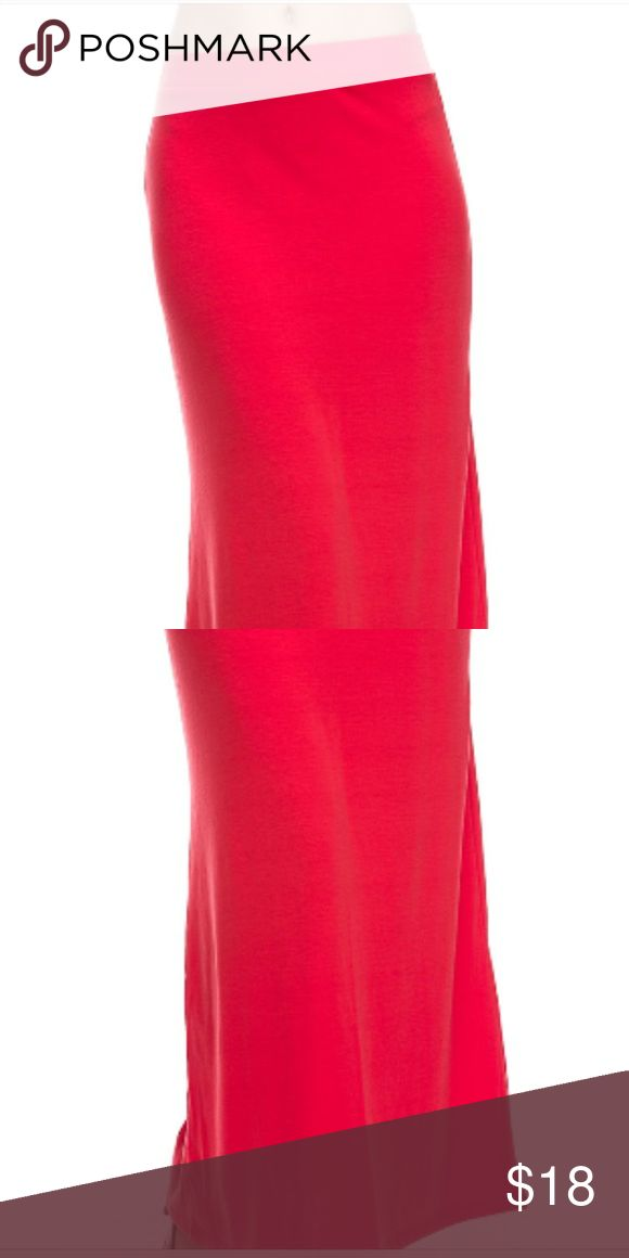 Dark coral maxi skirt This amazing maxi skirt is 95% polyester and 5% spandex. It is super comfy and popular summer color. Skirts Maxi