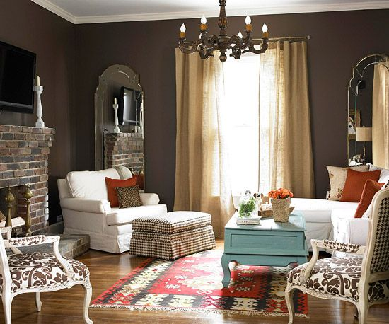 : Wall Colors, Cottages Style, Living Rooms, Living Spaces, Burlap Curtains, Brown Wall, Rooms Colors, Dark Wall, Burlap Draping