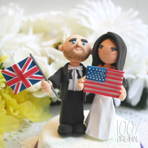 Wedding Cake Topper- American & English anniversary idea....of course nanny would be holding the other flag
