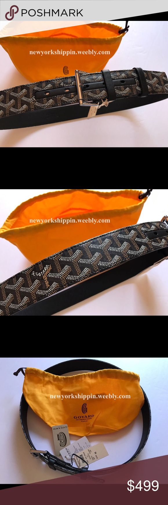 Black Men's leather belt Men's black leather Monogram gyd belt. Comes with dust bag. Ships out next day after purchase. Delivery 1-3 days. Goyard Accessories Belts