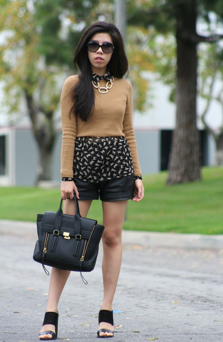 Crop Tops during Fall - Layering: TopShop Camel Crop Top + Zara Cat Button Down + Leather Shorts + Suede Heels + Philip Lim - Casual College Student Style