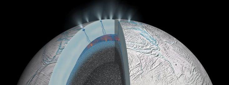 Schichten von Enceladus (Zeichnung): Im Inneren des Saturnmondes könnten heiße Quellen sprudeln