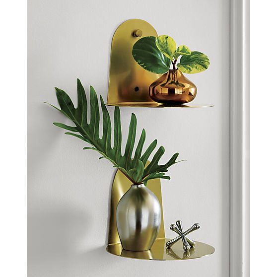 portal brushed gold shelf  | CB2
