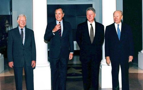 Presidents Jimmy Carter, George Bush, William Clinton, and Gerald Ford at The George Bush Presidential Library and Museum dedication. November 6, 1997.