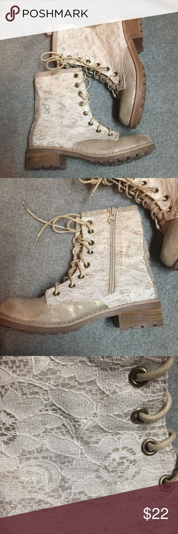 Tan/Gold Combat Boots •Size Six, Lace Combat Boots •Zippers on side, lace up in front  •Shimmery and Lace  •Unique and Stylish! •Barely Worn, in superb Condition, just like New! •Dress Up or dress down! •Feel Free to ask questions and/or Make offers! Shoes Combat & Moto Boots