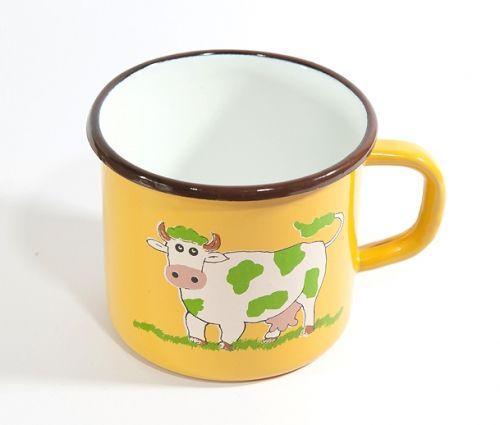 Kubek emaliowany Morelowa Krowa Elo-Pol 12cm Naczynia Olkusz