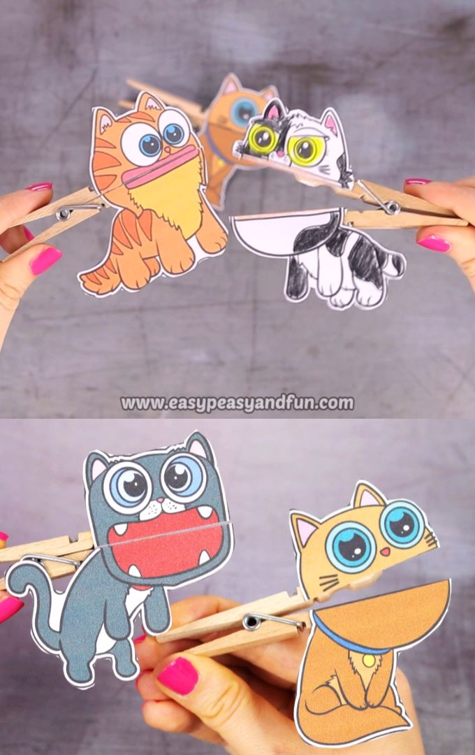 Cats Clothespin Puppets for Kids