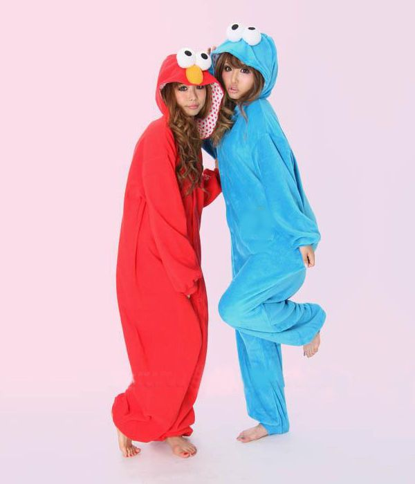 Cookie Monster Elmo Kigurumi Pajamas Adult  Animal Cosplay Costume Anime Onesies