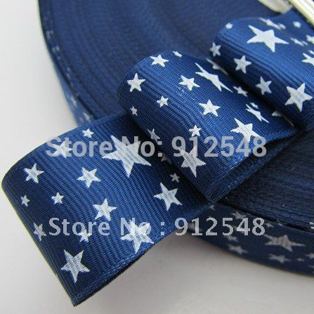 "Free Shipping 1"" (25mm) width, star printed blue ribbon grosgrain Personalize ribbons ,xx005"