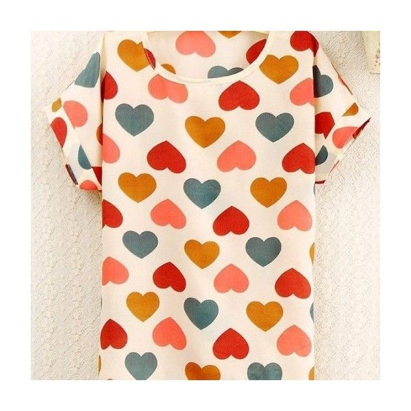 Colorful Hearts Print Love Shirt Summer Tee Girl Top MyFriendShop ($8.99) ❤ liked on Polyvore featuring tops, t-shirts, shirts, tees, summer tees, t shirt, summer t shirts, pink top and multi color shirt
