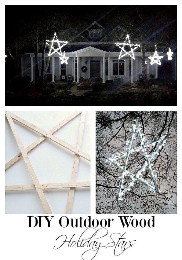 Diy Outdoor Wooden Lighted Stars Farmhouse Christmas