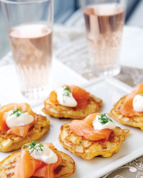 Gluten free recipe for smoked salmon on corn fritters - yummy! Excerpted from Deliciously G-Free by Elisabeth Hasselbeck