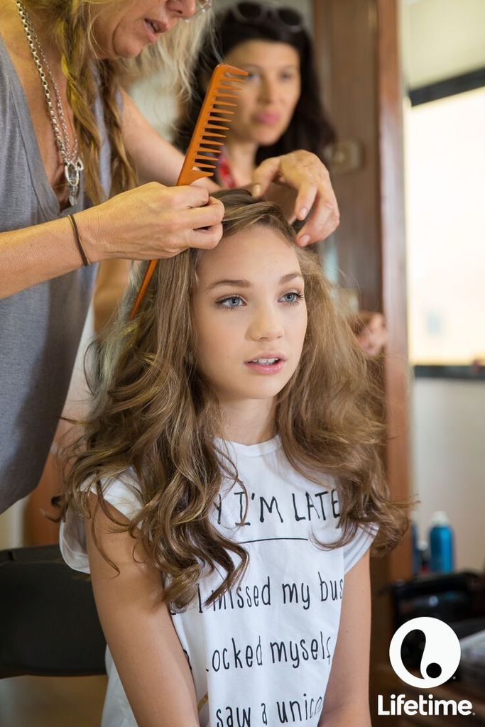 Maddie getting prepped for her glam shots.