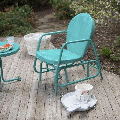 Coral Coast Vintage Retro Outdoor Glider Chair   Outdoor Gliders At  Hayneedle